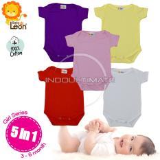 BABY LEON Baju Bayi Jumsuit 5pcs BC-01 Newborn / 100% katun / Pakaian bayi / perlengkapan bayi / baju set bayi newborn / kaos bayi