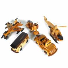 Paket C isi 5pcs - Miniatur dari kayu [pesawat tempur, helikopter, vespa, VW Bus, VW terbuka]