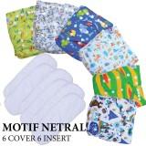 Jual Paket Hemat Agen Babyland Popok Clodi Bayi Motif Unisex Netral 6 Pcs Clodi Type Popok Pocket Dengan 6 Insert Microfiber Baru