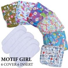 Harga Paket Hemat Agen Babyland Popok Clodi Bayi Motif Perempuan 6 Pcs Clodi Type Pocket Dengan 6 Insert Microfiber Murah