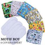 Spesifikasi Paket Hemat Agen Babyland Pocket Clodi Bayi Motif Laki Laki 6 Pcs Clodi Type Pocket Dengan 6 Insert Microfiber