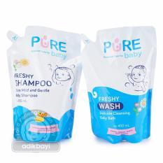 Paket Hemat Baby Wash and Shampoo Pure Baby Freshy Refill 450 Ml