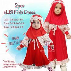 Paket Sisters Elbi Fiola Set / Baju Gamis Anak Perempuan Muslim by Little Bee Boutique