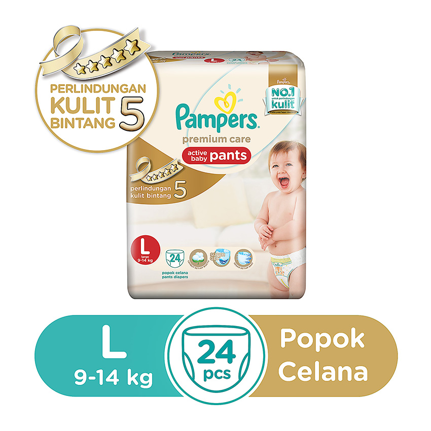 Pampers Popok Celana Size L-24 Premium Care - Popok Bayi