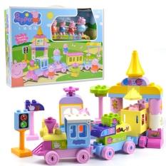Peppa Pig Blok Mainan 2213 73 Pcs/set Big Train Set Bangunan Anak Bermain Mainan Puzzle Rakitan Mainan (69 Pcs + 4 Babi Kecil + 1 Album) -Intl