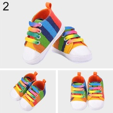 Obral Phoenix B2C Perempuan Laki Laki S Rainbow Sepatu Kanvas Sepatu Prewalkers Bayi Anti Slip Sepatu Bayi 12 Cm Intl Murah