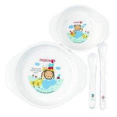 Pigeon Feeding Set Mini Peralatan Makan Balita Bpa Free - Putih By Super Toys.