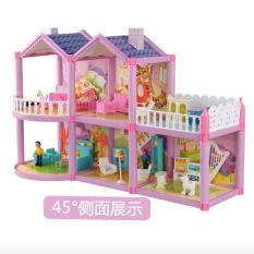 Pink Girls Dream Villa DIY Doll House Decors for Barbie 3D Play Set Toys (Pink) - intl