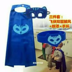 TIMMY PJ Mask Topeng+Jubah+Gelang Biru (Cat Boy)
