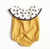 Diskon Polka Dot Lotus Kerah Bayi Bayi Baju Monyet Sleeveless Kuning Musim Panas Balita Dress Intl Akhir Tahun