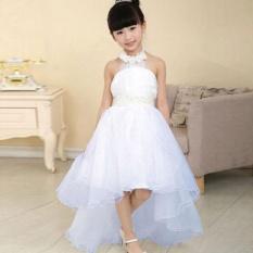 Polonium Nyaman Pakaian Anak-anak Kid Girl Long Pernikahan Putri Bridesmaid Bowknot Lapisan Baju Putih 3-9Years-Intl