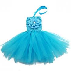 Polyester Bayi Gadis Tanpa Lengan Ulang Tahun Pesta Gaun (Biru)-Intl