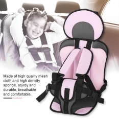 Portable Anak-anak Baby Car Safety Seat Convertible Backseat Chair Cushion (Pink Grey)-Intl