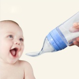 Promo Portable Silicone Bayi Sereal Jus Botol Makan Dengan Sendok Pink Intl Akhir Tahun
