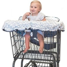 Premium 2-in-1 Cotton Shopping Cart Cover High Chair Cover for Baby & Infant with Comfortable Pillow, Cell Phone Carrier, Teether, and Bonus Toy Straps - Summer Grocery Cart Cushion for Boy or Girl - intl