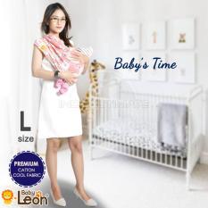PREMIUM GEOS Gendongan Kaos Baby Leon/Selendang Katun/Slendang Bayi Motif Lucu BY 48 GB Ukuran L - Bear PINK MOTIF RANDOM