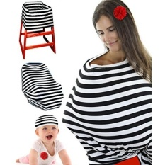 Premium Nursing Breastfeeding Cover Carseat Canopy W/Bag & Baby Beanie For Boys & Girls. Baby Shower Gift. Multi Use - Poncho & Scarf, Shopping Cart, High Chair & Stroller Covers - intl
