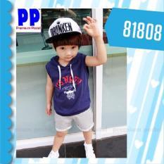 Premium Pastel Setelan Pendek Kaos Katun Model Kutung Biru 81808