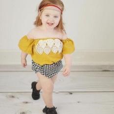 Putri Bayi Anak Gadis Grid Plaids Cek Renda Penyambungan Jumpsuit Playsuit Fly Lengan Tassel Pakaian Romper 0-24 M -Intl