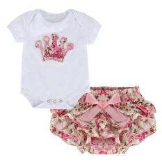 Putri Gaya Musim Panas Bayi Gadis Lengan Pendek jumpsuit + Flower Pant-ROK Set S-Intl
