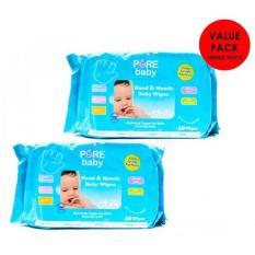 Spesifikasi Pure Baby Hand Mouth Wipes 60 S Aloe Vera Value Pack Buy 1 Get 1 Free Pure Terbaru
