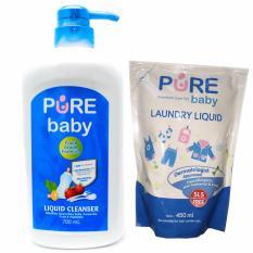 Promo Toko Pure Baby Liquid Cleanser 700Ml Pump Free Laundry Liquid 450Ml