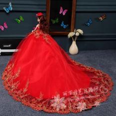 Barbie Boneka Gaun Pengantin Mainan Putri Berekor Panjang Mempelai Wanita 17a792d40a