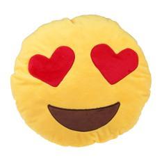 Q Bentuk Emoticon Kuning Bantal Boneka Bantal Bulat Model Mainan Mata Hati