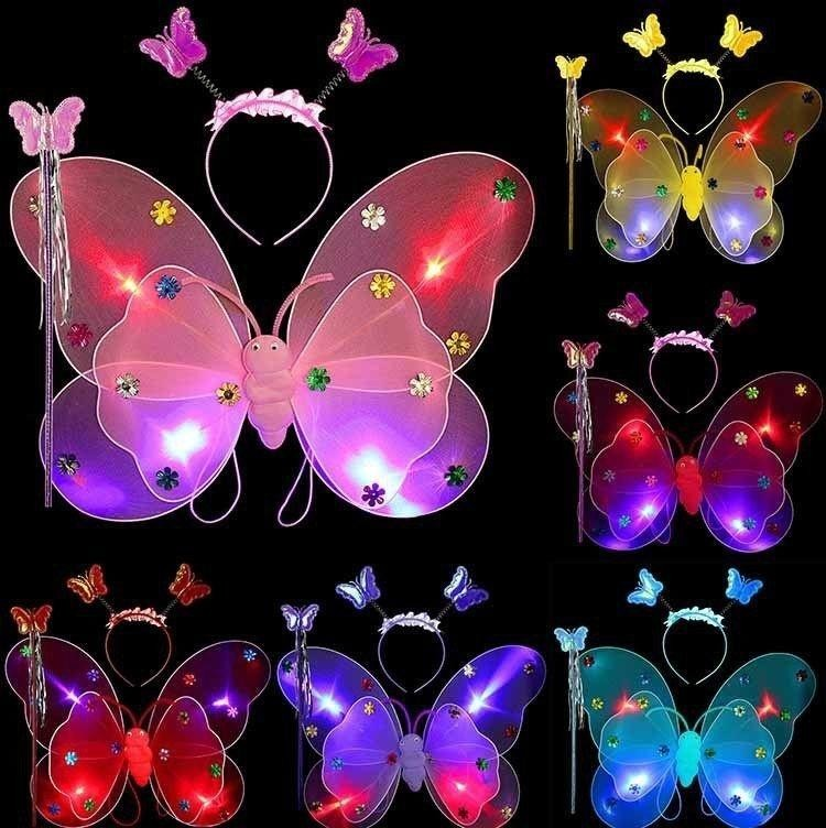 Rainbow Site 3pcs/Set New Fashion Girls Fairy Butterfly Wing Wand Headband Costume Toy Gift Led Flashing Light -Pink-Double layer - intl
