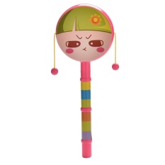 Rattle Drum Cartoon Smile Face Rattle Double-sided Rattle Baby Wave Drums - intl