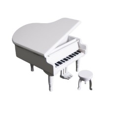 Retro Wind-Up Wooden Piano Musical Box.Wooden Simulation Music GiftBox.Love Story Musical Box.White Box With Silvery Musical Movement - intl