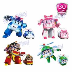 Robocar Poli Set Transformable Mainan Mobil Robot Berubah 4 in 1 Poli Amber Roy Helly