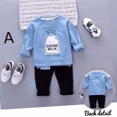 Roman Boyset Setelan Kaos Sweater Milk 9Month 3Y Asli