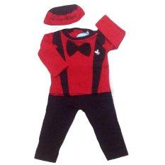 Roman Set Koko Bayi Muslim Tuxedo Red 6Month-2Tahun