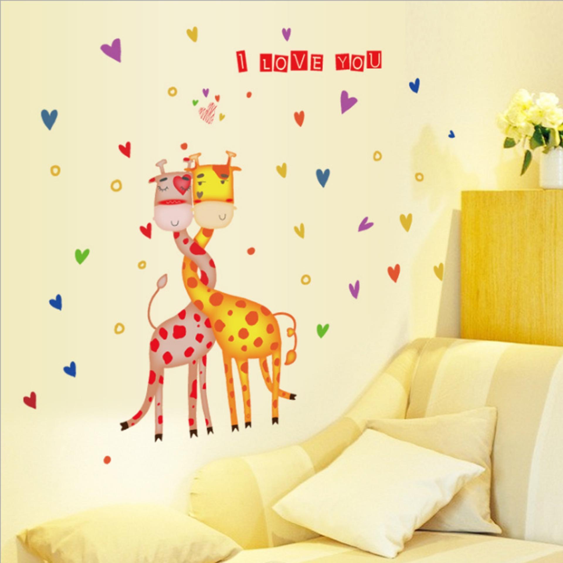 Jerapah Romantis Berbentuk Hati Bahasa Inggris Letters Wall Sticker Decal Home Kertas PVC Mural Rumah Wallpaper Kamar Tidur Anak-anak Babys Ruang Tamu Gambar Seni Dekorasi-Intl