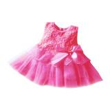 Rorychen Bayi Anak Polos Gadis Without Lengan Gaun Bermotif Bunga Bunga Pink Tua Tiongkok