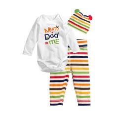 Harga Rorychen Bayi Surat Dicetak 3 Pcs Suit Baju Monyet Celana Cap Dan Spesifikasinya