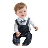 Tips Beli Rorychen Anak Laki Laki 2 Pcs Suit Gentleman Stand Collar Romper Plaid Cap