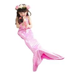 Mermaid Girl Rorychen 3 Buah Pakaian Renang: Tupe TOP + Pants Bang Pendek + Ekor Putri Duyung (Berwarna Merah Muda)