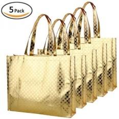 Rumor Bling Glossy Glitter Tahan Lama Dapat Digunakan Kembali Grocery Bag Tote Bag Handles Bag, Medium Non-woven Sekarang Bag Tas Hadiah, Barang Bag Shopping Bag, Promosi Bag, Set 5-Pola Emas-Intl