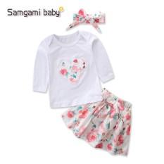 Samgami Bayi Gadis Musim Gugur Kartun Jantung Bunga Cetak Katun T-Kemeja + Rok Gaun + Ikat Kepala 3 pcs Anak-anak Pakaian 1-5Y-Internasional