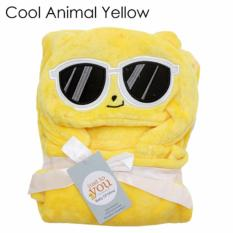 Selimut Topi Double Fleece - Cool Animal Yellow Selimut Hoodie Bulu Bayi 3D Hoodie Blanket Tudung