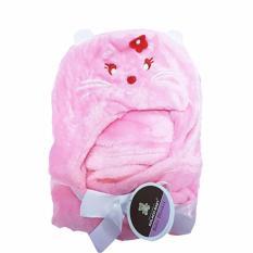 Selimut Topi Double Fleece Mouse Pink Selimut Hoodie Bulu Bayi 3D Hoodie Blanket Tudung Murah