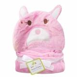 Jual Selimut Topi Double Fleece Pink Rabbit Selimut Hoodie Bulu Bayi 3D Hoodie Blanket Tudung Termurah