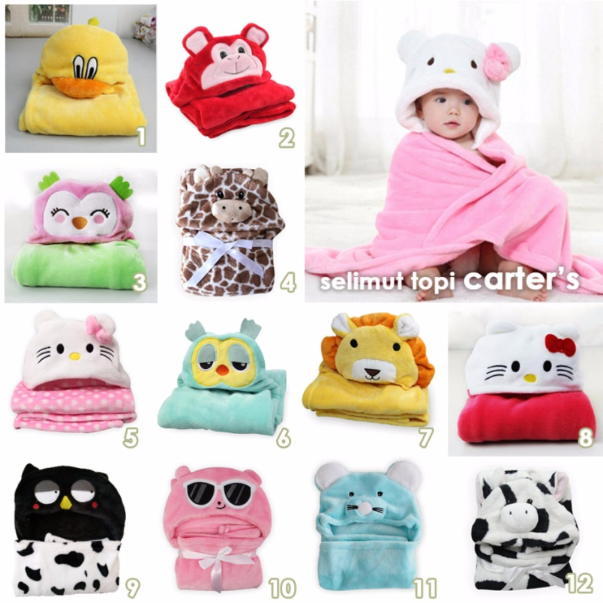 Bandingkan Toko Selimut Topi Double Fleece Selimut Hoodie Bulu Bayi 3D Hoodie Blanket Tudung (Boys