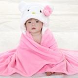 Harga Selimut Topi Double Fleece Selimut Hoodie Bulu Bayi 3D Hoodie Blanket Tudung Cat White Pink Universal Asli