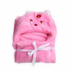 Beli Selimut Topi Double Fleece Selimut Hoodie Bulu Bayi 3D Hoodie Blanket Tudung Pink Cat Universal Online