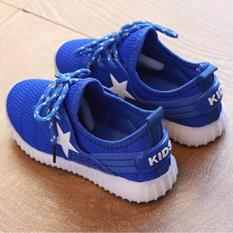 SEPATU ANAK LED WARNA BIRU BINTANG BINTANG  KIDS SHOES LED STAR BLUE
