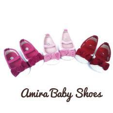 Sepatu bayi perempuan prewalker ballet pita beludru