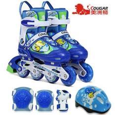 Sepatu Roda COUGAR COMBO SET Inline Skate BLUE Karakter